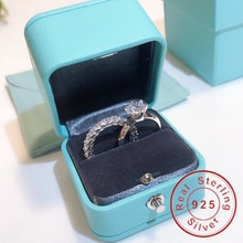 Conjunto de anillos de compromiso de diamante de 100% Plata de Ley 925 Real para mujer