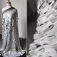 sequined gauze fabric embroidered shiny silver square sequins diy stage clothes props decor skirt wedding dress designer fabric