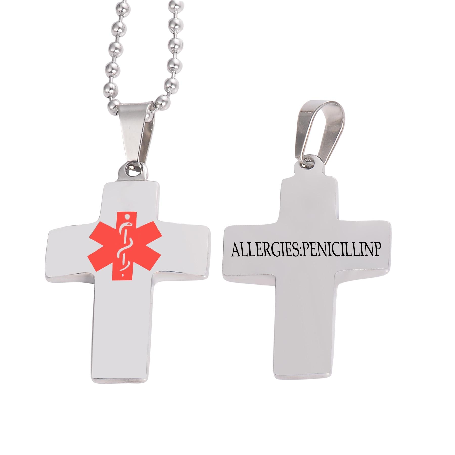 Typ 1 cukrzyca Alert medyczny naszyjnik dla kobiet mężczyzna krzyż ze stali nierdzewnej ID Tag Chain Jewelry