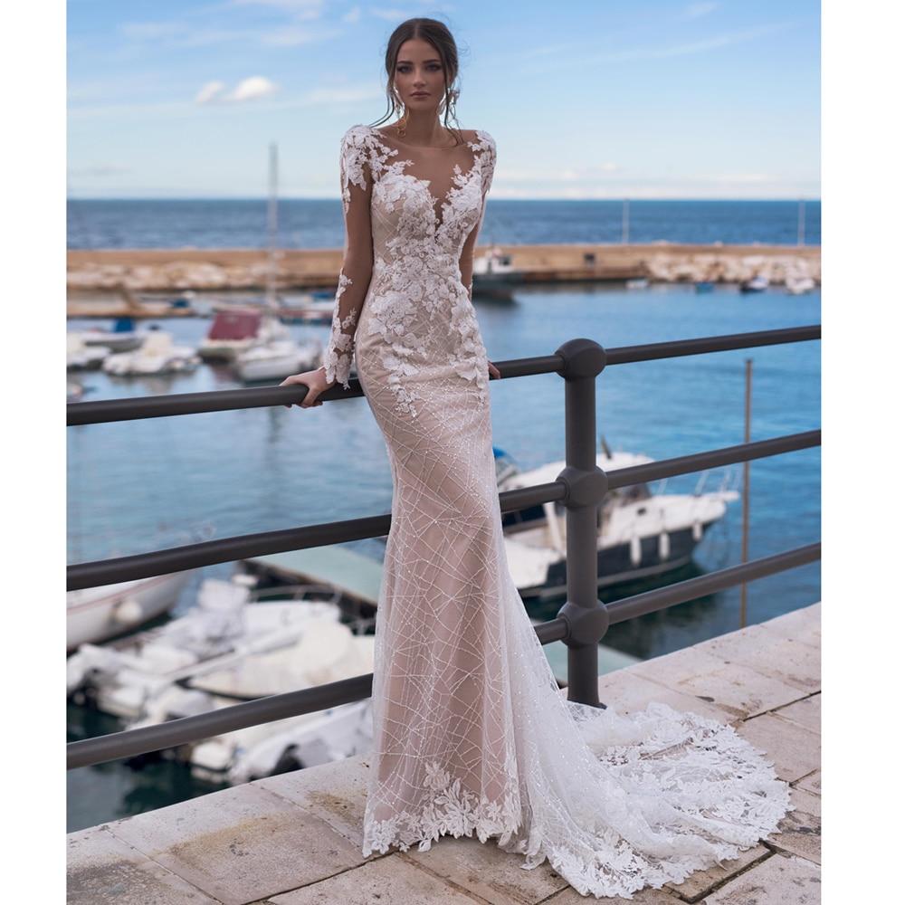 فستان زفاف مثير على طراز حورية البحر بأكمام طويلة ، فستان زفاف فاخر على طراز بوهو مع خرز وظهر مفتوح