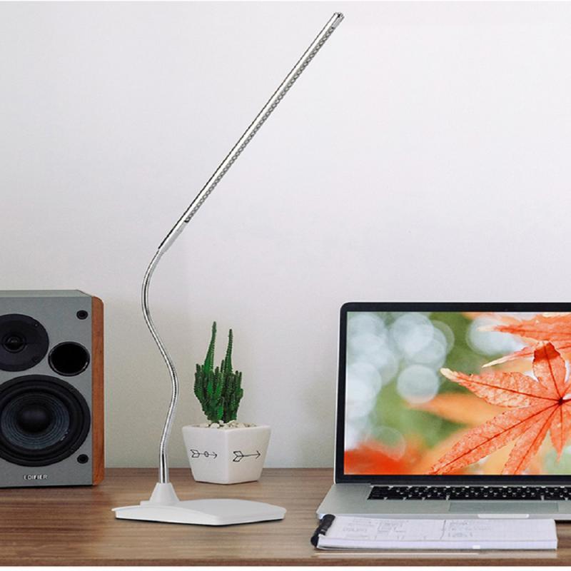 Lámpara LED de escritorio, lámpara de mesa de brazo largo, lámpara de lectura de ojo de cuello de cisne Flexible de USB de oficina montada con Clip para estudio de trabajo