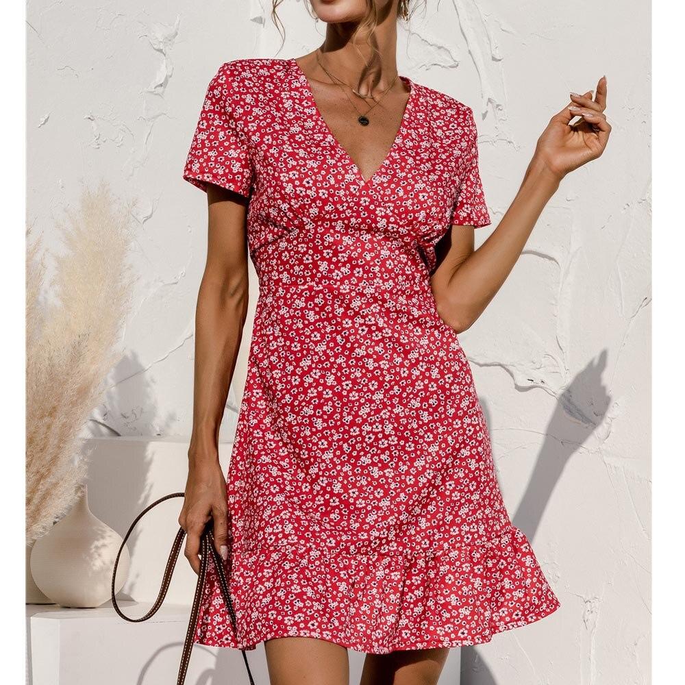 France Romantic Women Mini Dress Floral Print V Neck Short Sleeve Summer Cake Short Dresses Ruffles Splice Boho Ladies Plus Size