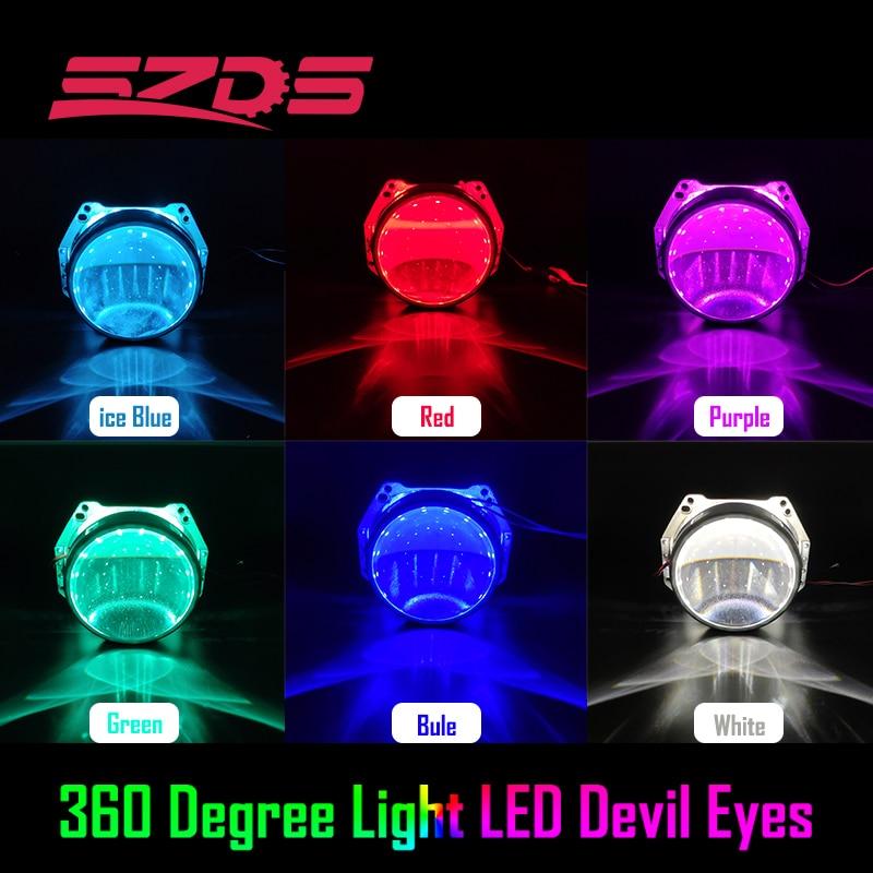 Demon Eye Led Light Devil Eyes Для 3 2,5 дюймов Автомобильный головной свет проектор Объектив Мотоцикл HID Xenon Hella Q5 WST 360 градусов SMD