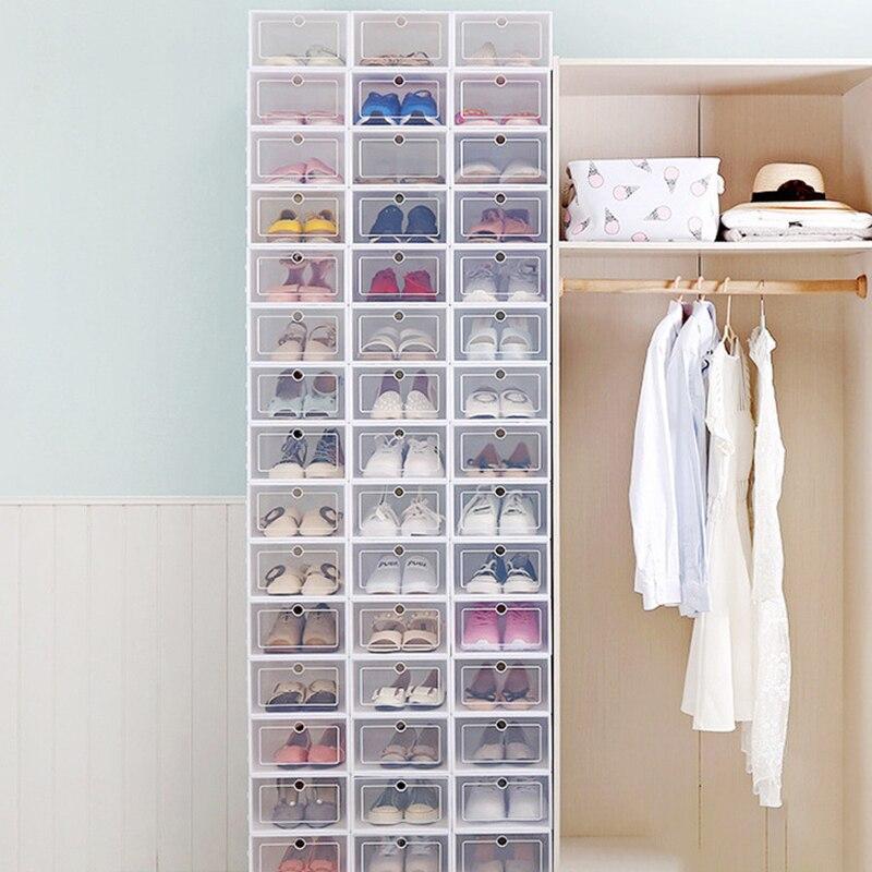1 Uds cajón divisor portátil PP plástico duradero Flip-Open Cover S/L organizador de zapatos colgador de zapatos caja transparente de almacenamiento