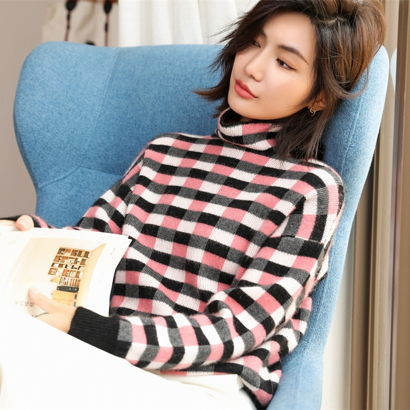 adohon 2021 woman winter 100% Cashmere sweaters and autumn knitted Pullovers High Quality Warm Patchwork thickening Turtleneck enlarge