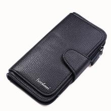 Brand men's wallet business Long clutch bag Three Fold Money Bag Male Purses card holder with zipper