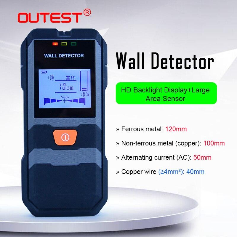 OUTEST كاشف الجدار الرقمي قضبان فولاذية/سلك النحاس/الأنابيب/الكابلات مكتشف عمق الكاشف مع صوت الطنين والإضاءة الخلفية