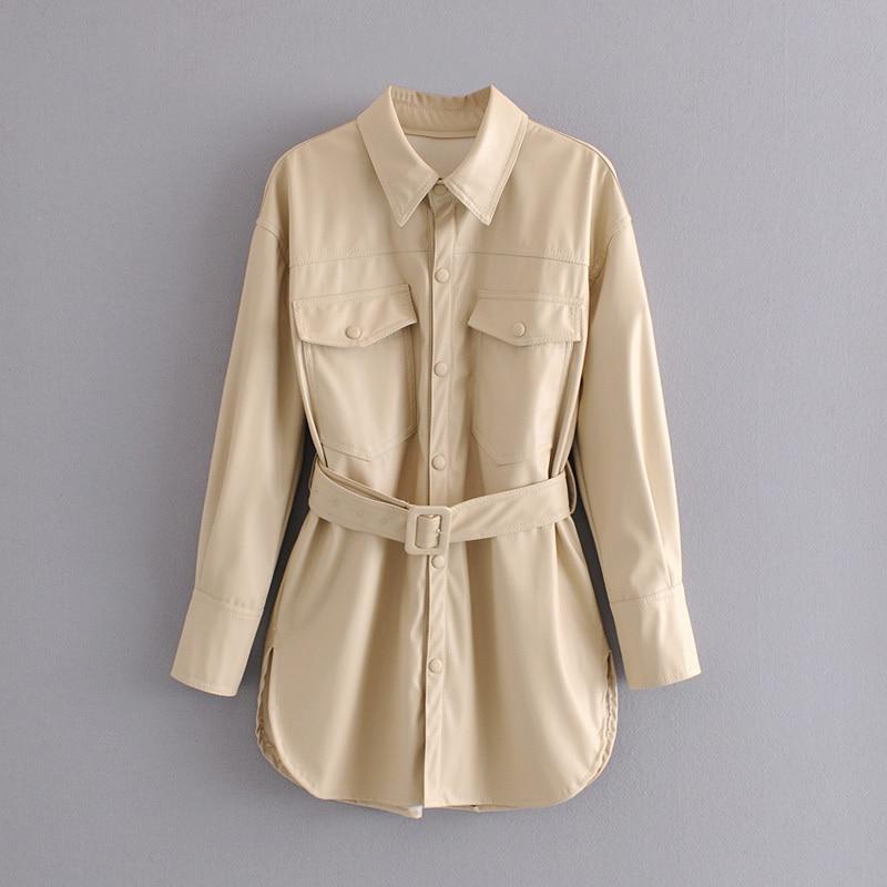 Elegant women faux leather shirt 2020 autumn fashion lady thick plus fleece shirt streetwear female loose shirt girl warm shirt