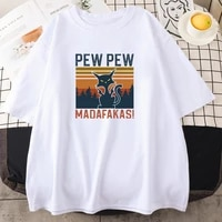 funny pew pew madafakas cool cat prints t shirt men style crewneck tshirt fashion o neck clothes street big size tshirt mens