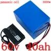 60V 40AH Lithium ion ebike batterie utiliser Panasonic cellule 60V 1500W 2000W 2500W 3000W batterie 60V 40AH scooter batterie avec chargeur