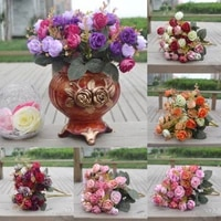 42 head artifical plastic rose silk flower bouquet wedding bouquet office home decors craft 2pcs bouquet