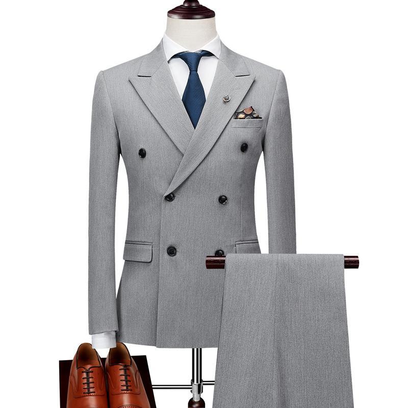 Мужские двубортные костюмы, мужские костюмы, облегающие мужские деловые костюмы, брендовые черные, серые куртки, брюки, жилет