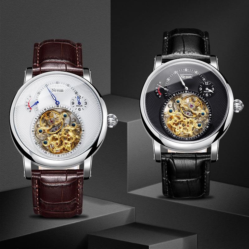 Nesun 9081 الجوف توربيون ساعة الرجال سويسرا العلامة التجارية الفاخرة التلقائي الميكانيكية ساعات رجالية 30Bar ساعة مضادة للماء