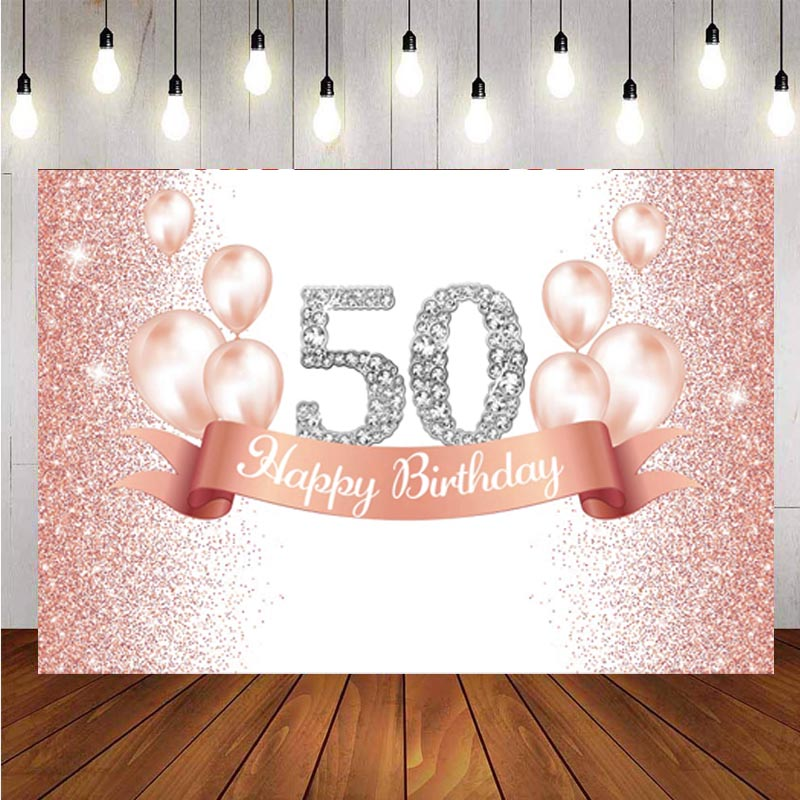 Rose Gold 50th Photo Backdrop Pink Balloon Lady Happy Birthday Party Photography Background Banner Decorations Supplies independence day firecracker birthday backdrop 4th of july first birthday party photo background cake table decorations supplies