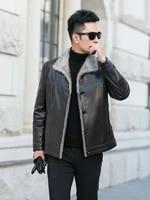 winter mens leather jacket 100 goat skin wool coat leather lining size