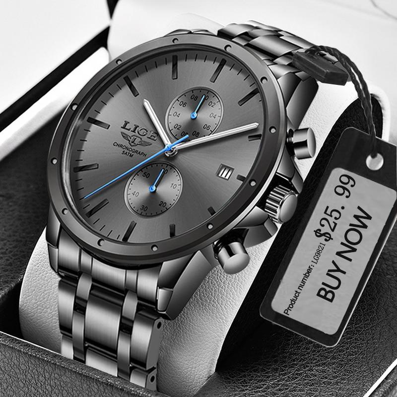 LIGE-ساعة رجالية ، كرونوغراف مقاوم للماء ، كوارتز أسود ، كرونوغراف ، ساعة يد رياضية ، ذكر