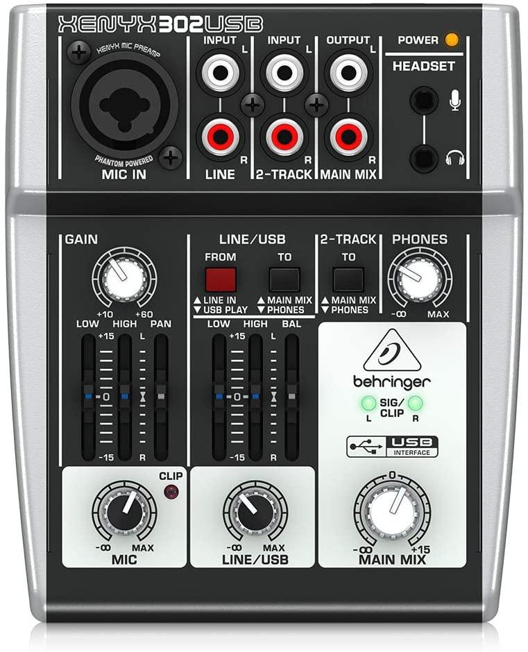 Behringer-وحدة خلط الصوت Xenyx 302USB ، جهاز خلط الصوت ، Premium 5-Input ، واجهة صوت USB umc22