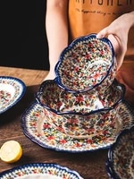 polish ceramic tableware home creative dish set high faced rice bowl soup noodles double eared bowl large net red plate