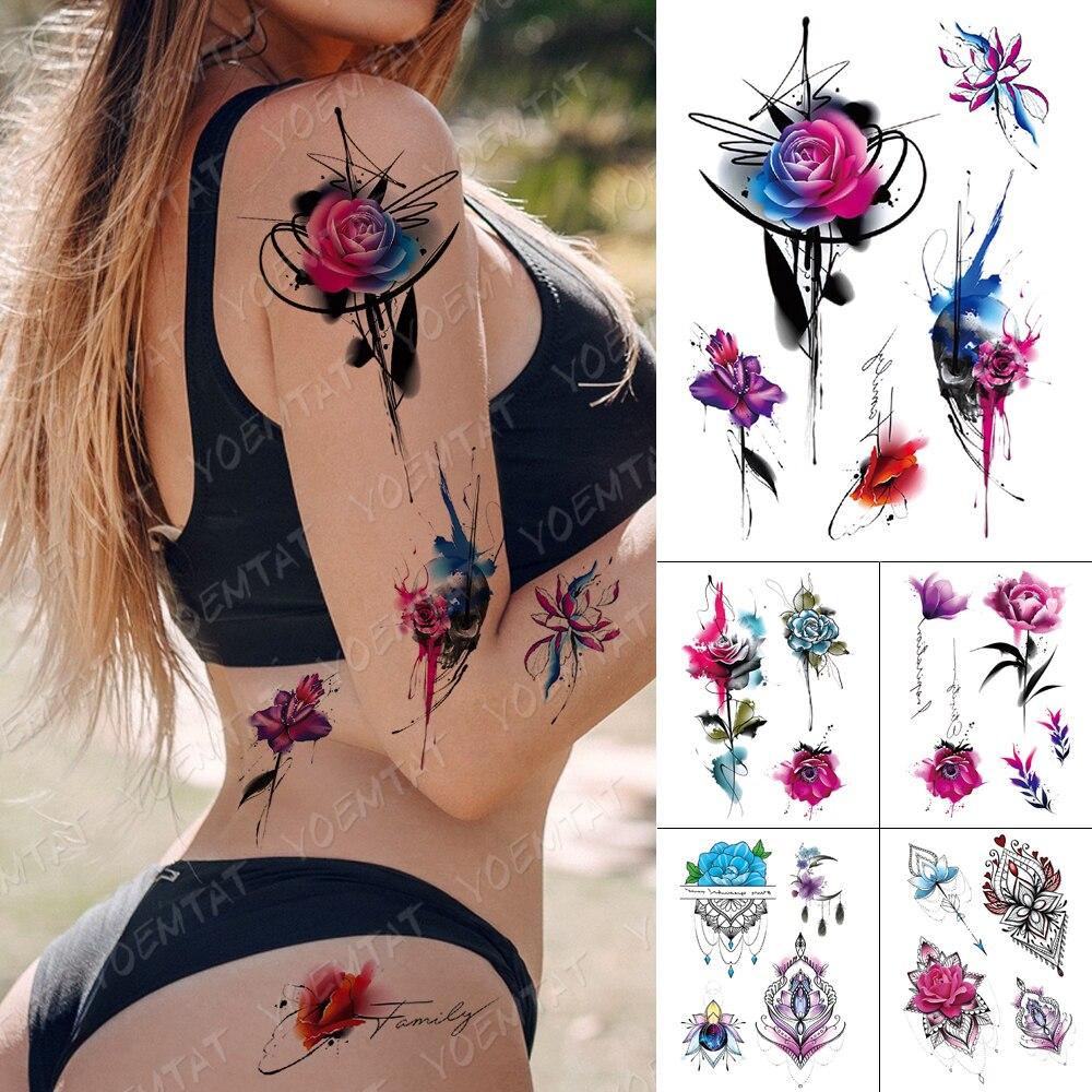 Tatuajes Temporales impermeables pegatinas rosas peonía loto mariposa Flash tatuajes mujer minimalista arte corporal pintado Tatuaje falso hombre