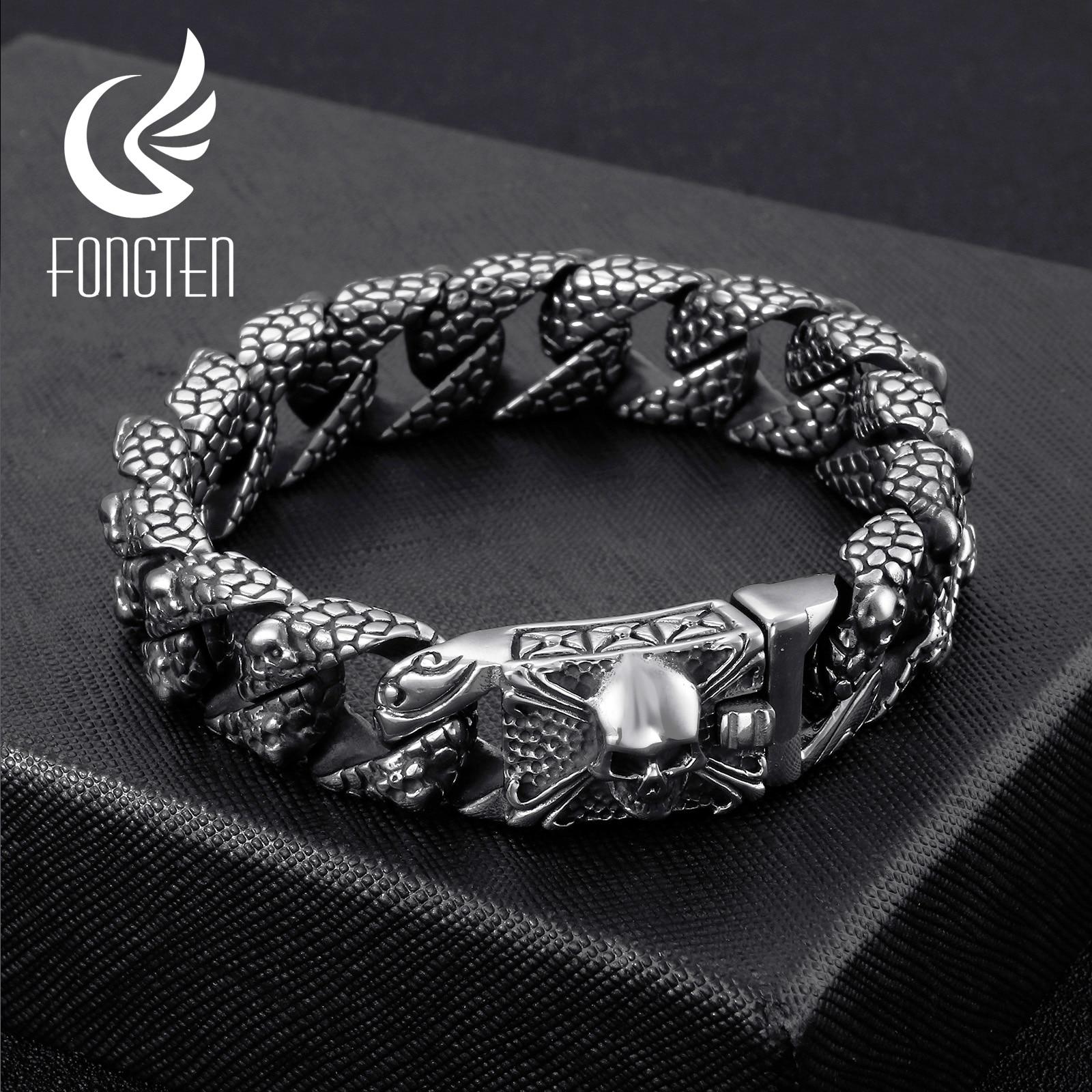 Fongten Gothic Retro Style Mens Bracelets Stainless Steel Skull Franco Link Curb Chain Bracelet For Men Punk Fashion Jewelry