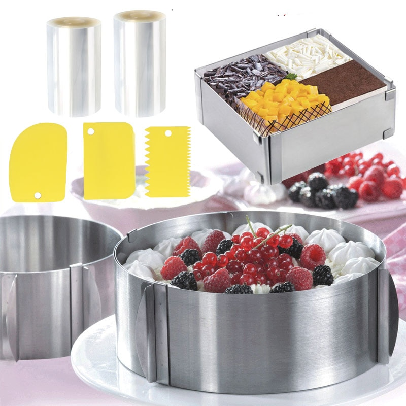 Adjustable Mousse Ring Stainless Stell Cake Mold For Baking Surround Film Collar Pastry And Kitchen Accessori