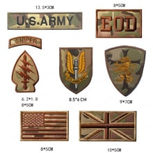 Sniper Bestickt Patches EOD UNS Armee Taktische Militärische Patch UK USA Amerikanische Flagge Armband Dekorative Abzeichen Aufkleber CP