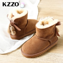 KZZO Big Kids Sheepskin Suede Leather Wool Fur Lined Winter Snow Boots For Girls Students Ankle Warm
