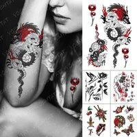 waterproof temporary tattoo stickers dragon rose old school flash tattoos female sketch body art arm fake tatoo male