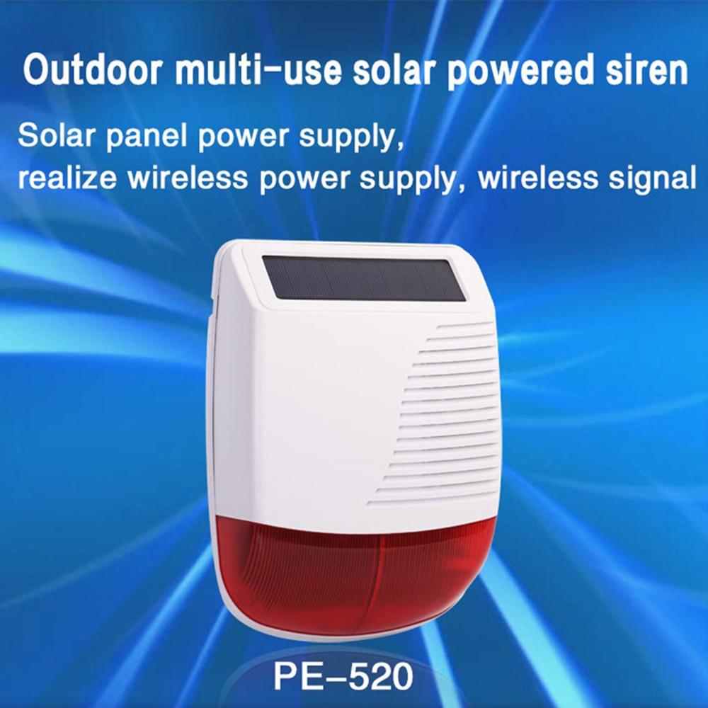Nuevo 433MHz luz Flash estroboscópica al aire libre Solar sirena impermeable para el hogar antirrobo Wifi GSM sistema de alarma de seguridad para el hogar