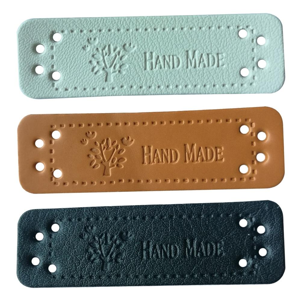 Etiquetas de cuero hechas a mano para ropa, accesorios Diy para regalo, etiqueta de cuero artesanal para ropa hecha a mano, etiquetas con logotipo de árbol