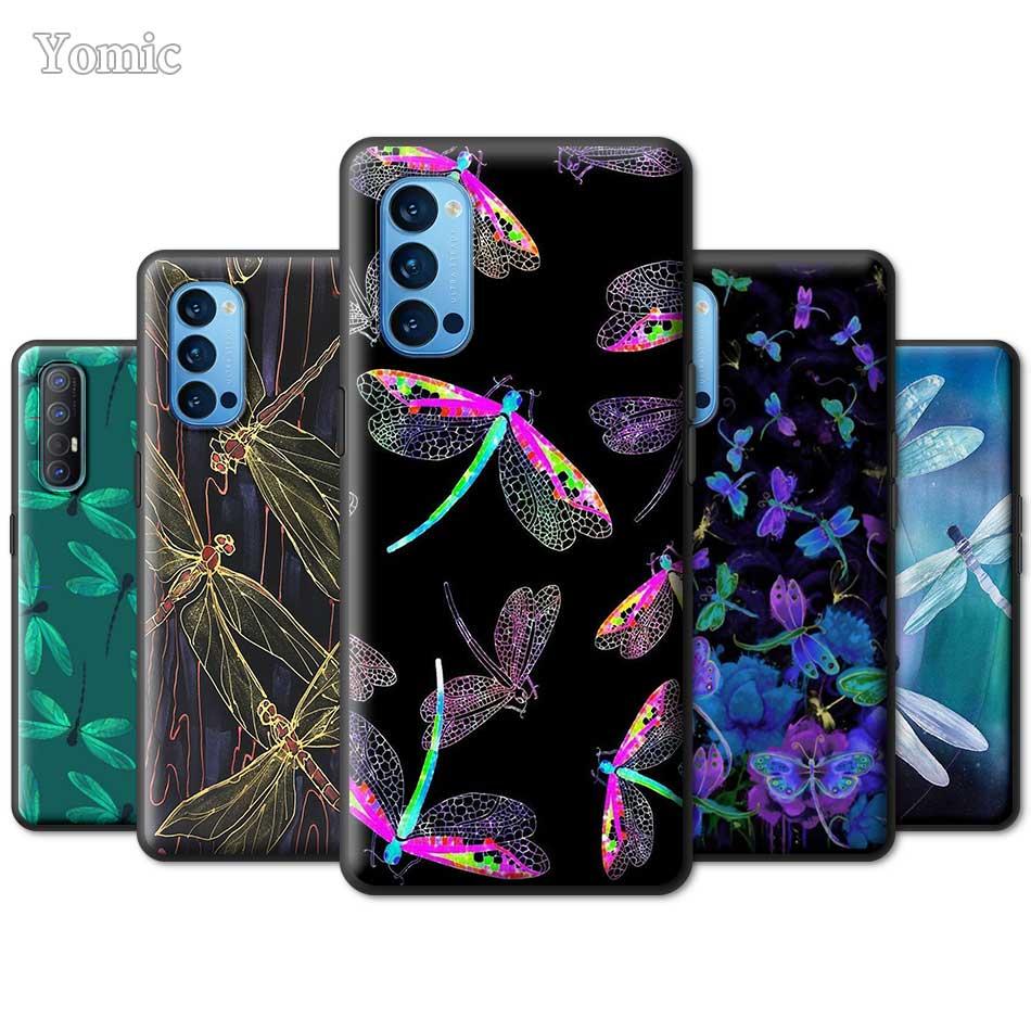 Funda de teléfono negro TPU suave libélula Animal arte para Oppo Find X2 Neo Lite A5 A9 2020 Reno 4 3 F11 Pro A52 A72 Ace 2