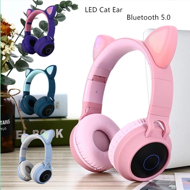 Nueva llegada original caja LED de oreja de gato auriculares con cancelación de ruido Bluetooth 5,0 auriculares para niños pequeños compatible con tarjeta TF 3,5mm con micrófono