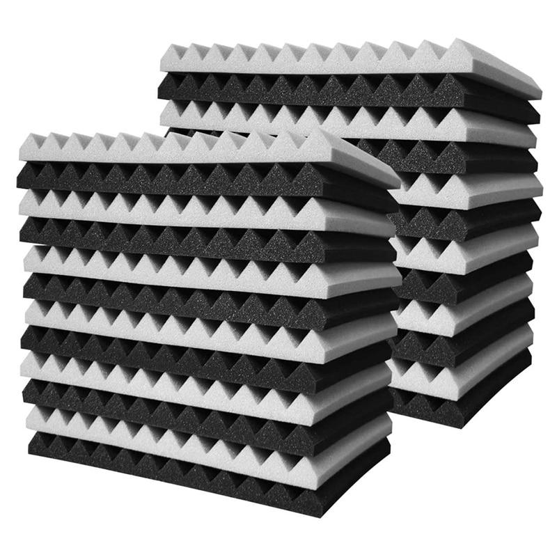 تعزيز! 24 قطعة رغوة صوتية المجلس ، استوديو إسفين البلاط ، رغوة صوتية عازلة للصوت الهرم استوديو العلاج ألواح للحائط 2.5X30X30cm