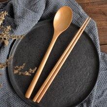 Cuillère en bois baguettes ensemble coréen bois soupe pour manger mélange Strring poignée japonais naturel châtaigne bois Sushi côtelette # Y10