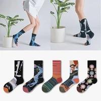 new socks ladies fashion tube socks japanese street graffiti illustration personality color matching art stockings couple socks