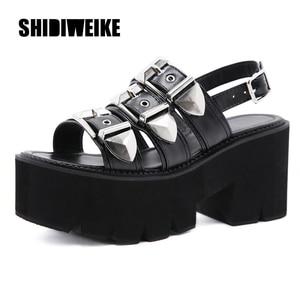 summer new Sexy Women Punk Rock Platform Belt buckle Sandals Wedge Shoes Open Toe Gladiator Sandals BLACK va872