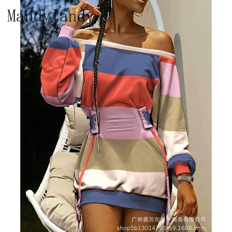 off shoulder self tie waist dress Mandylandy Dress Autumn Slash Neck Slim High Waist Bandage Dress Women's Fashion Lantern Sleeve Off Shoulder Solid Color Dress