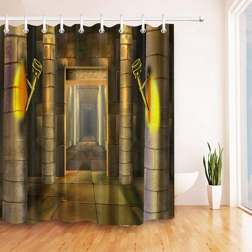Cortina de ducha con diseño de templo egipcio antiguo de tela duradera...