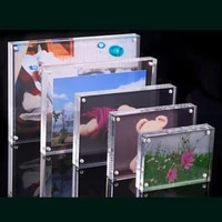 1 piece dual faced transparent crystal photo holder frame poster display stand holder frame desk acrylic magnet home decor hot