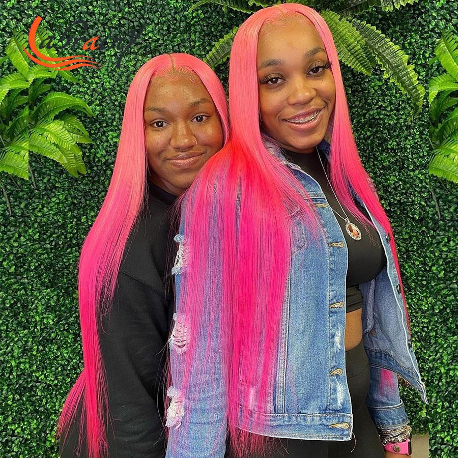 40 дюймов, с подсветкой Розовый Hd прозрачный Синтетические волосы на кружеве парики из натуральных волос с Африканской структурой, 13X6 Синтет...
