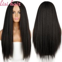 LISI-Peluca de cabello sintético para mujer, pelo liso Yaki, Afro, fibra resistente al calor