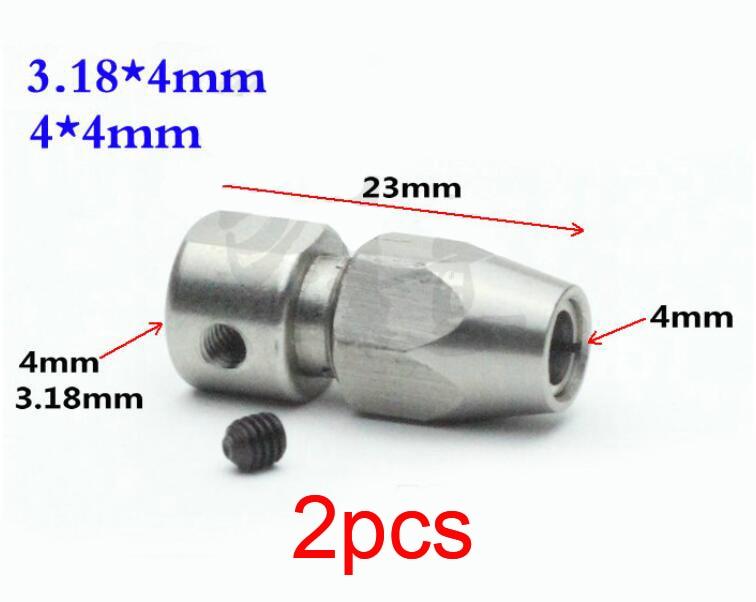 2 uds 3,18*4mm/4*4mm conector de bloqueo de eje Flexible Motor de accionamiento acoplador armario de acoplamiento para DIY RC barco eléctrico/modelo de barco