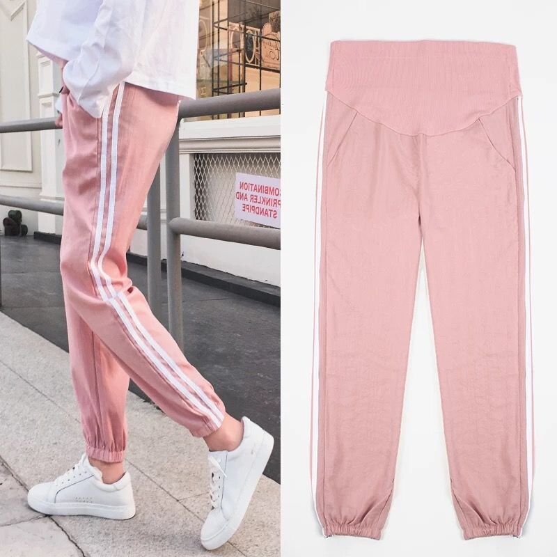 Pregnant women's Warm Velvet pants loose thick LEGGING pants Maternity Cropped pregnant Maternity's Fleece Stripes trousers velvet cropped hoodie and pants twinset