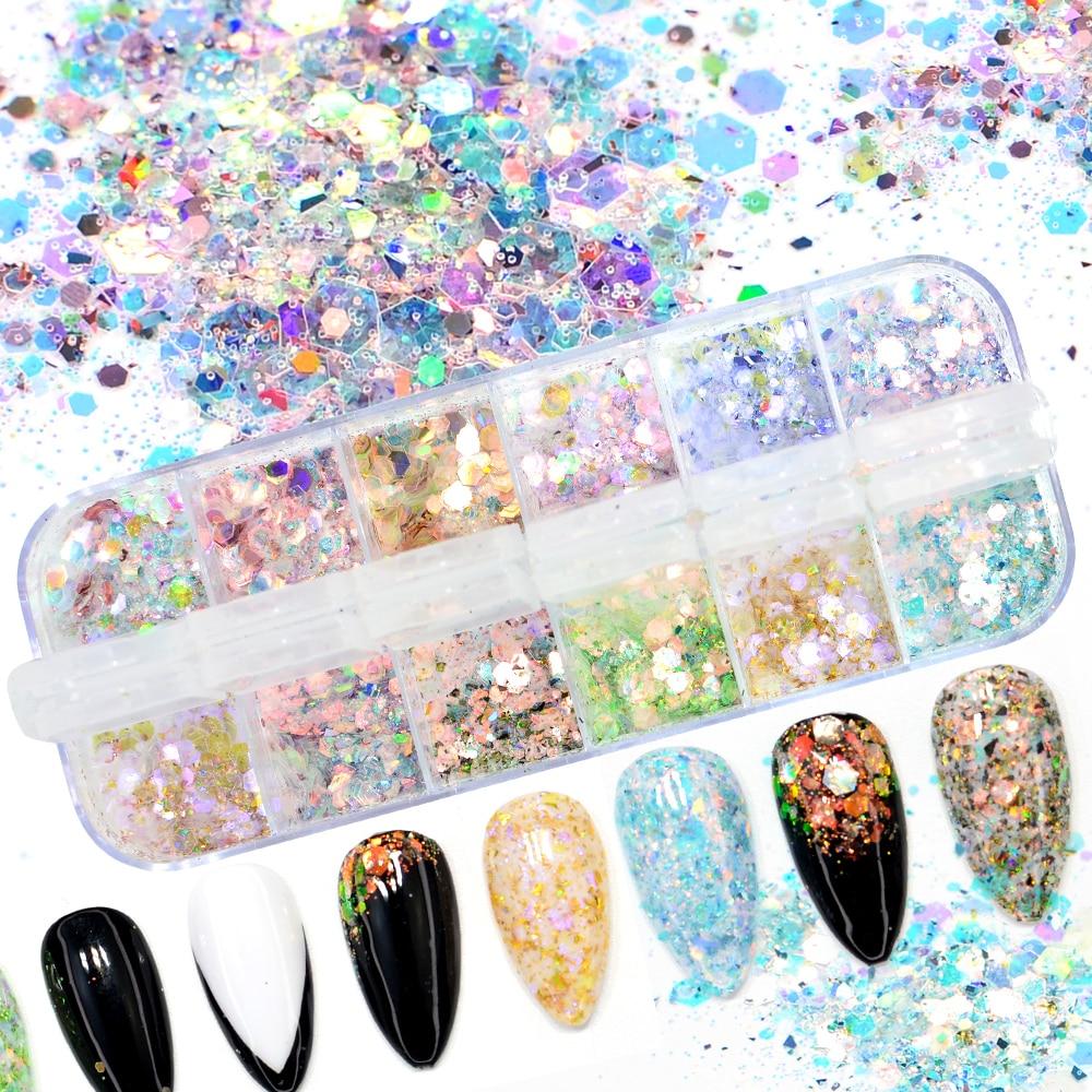 12 Colors/Box Mix Hexagon Nail Glitter Powder Sequins Set Ultra-Thin Sparkles Flake Manicure Decoration Nail Art Paillette Tips недорого