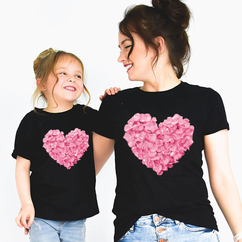 Mommy and Me Flower Heart T shirt Mother Daughter Matching Family Outfits Rose flower T-shirt Motherday's Day Gift,Drop Ship