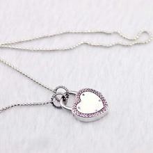 Verrouiller votre promesse collier et pendentif sadapte à des breloques européennes originales collier en argent Sterling pour femme bricolage bijoux de mode