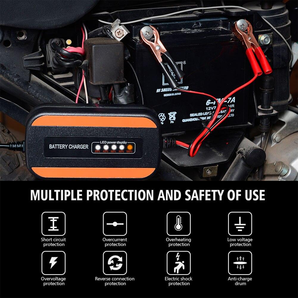 12 В полностью автоматическое умное зарядное устройство цифровое импульсное Ремонтное свинцово-Кислотное зарядное устройство для аккумуля...