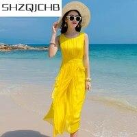 shzq summer beach dress women long party dress yellow vestidos sleeveless silk elegant dresses maxi dresses casual lwl1530