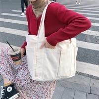 korean large capacity canvas tote for women japanese weekend shopper female handbags back to work ladies shoulder bag 2021 new