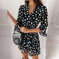 new elegant women love heart print mini shirt dress women sweet new ruffle spring autumn a line dress casual v neck party dress